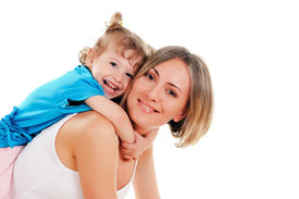 stock photo of mother child  - young mother and her young daughter spent time together - JPG