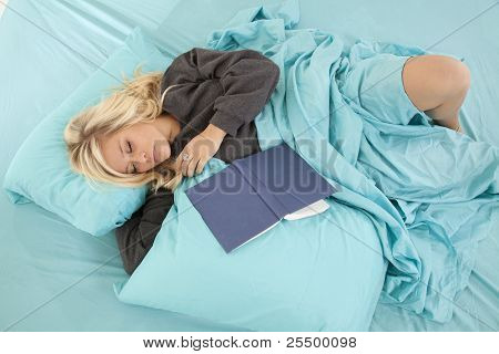 Woman Sleep Bed Book