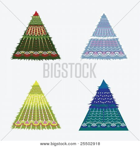 A Set Of Christmas Trees