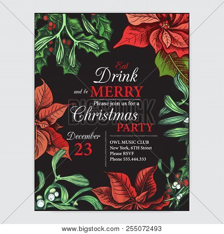 poster of Invitation Card For A Christmas Party. Design Template With Xmas Hand-drawn Graphic Illustrations. G