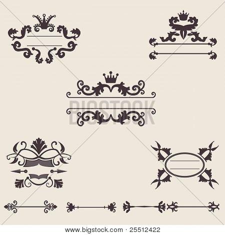 Set of vintage ornament, vector