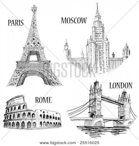 European cities symbols sketch: Paris (Eiffel Tower), London (London Bridge), Rome (Colosseum), Moscow (Lomonosov University)