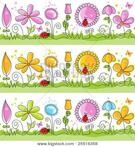 Cartoon summer nature scene (seamless patterns)