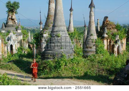 Young Monk Walkng Between Stupas