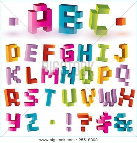 3d bright vector pixel alphabet
