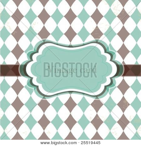 Vector vintage card with rhombuses