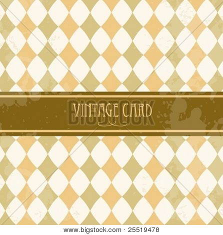 Vector vintage card with circus rhombuses