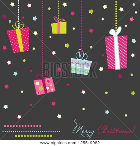 Vector Gift Boxes, christmas card on dark grey