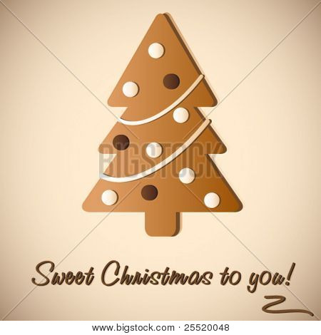 Gingerbread Cookie of Christmas tree, vector illustration