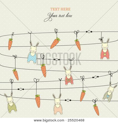 Background with stylish doodle carrots and rabbits