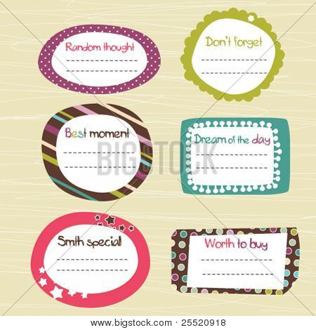 Childish scrapbook labels, doodle frames