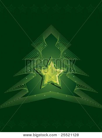 Jewelled star surrounded by outlined Christmas tree on dark green background