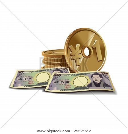 Yen banknotes and coins vector illustration, financial theme