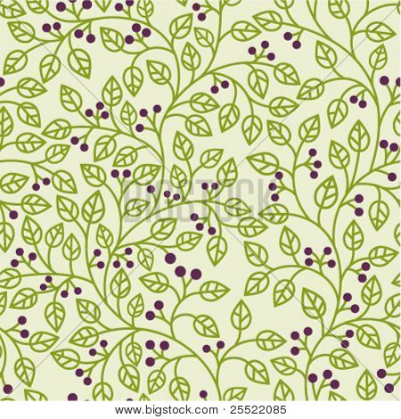 seamless pattern with green leaves ornament