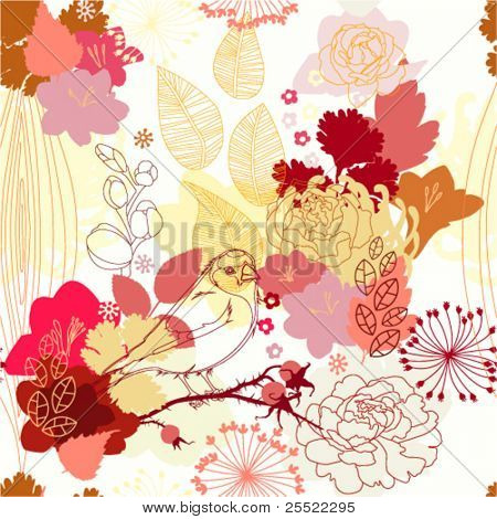 seamless pattern with abstract botanical ornament