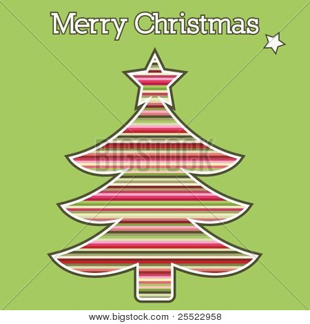 Colorful striped Christmas tree greeting card