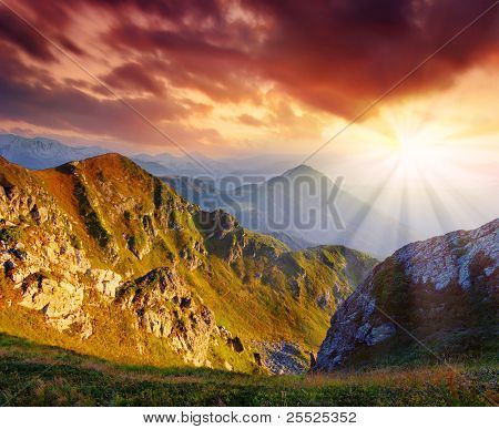 Mountain landscape with the beautiful sky and clouds at a dawn. Mountains Carpathians, Ukraine