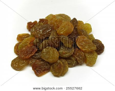 Pile of raisin isolated on white background
