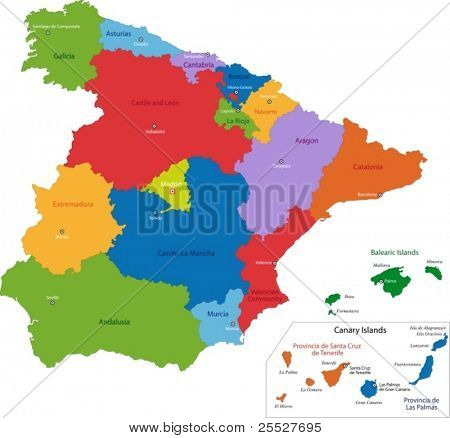Colorful Spain map with regions and main cities