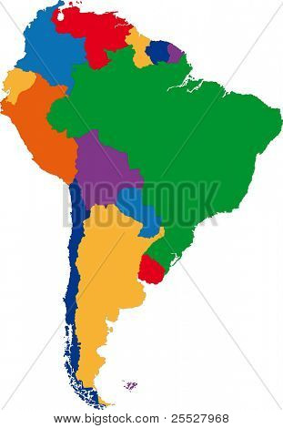 Colorido mapa da América do Sul com as fronteiras do país
