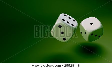 White Dice At Green Background