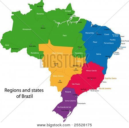 Colorful Brazil map with regions, states and capital cities