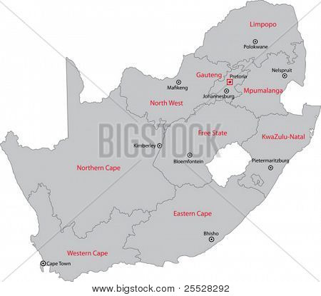 South Africa map designed in illustration with the provinces and the main cities.