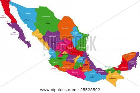 Colorful Mexico map with state borders and capital cities