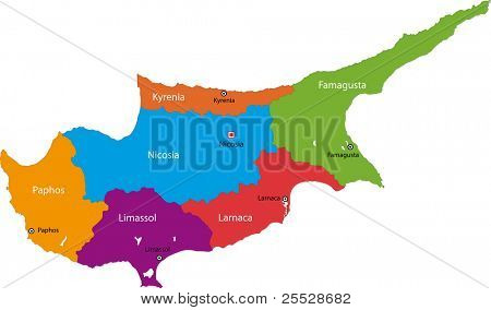 Map of administrative divisions of Cyprus with capital cities