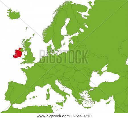 Location of the Republic of Ireland on the Europa continent