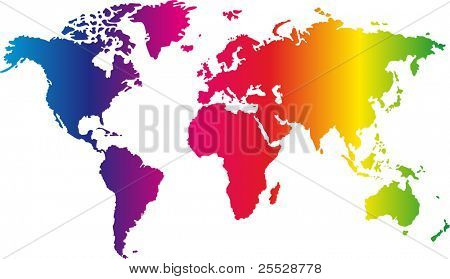 World map painted in seven primary colours