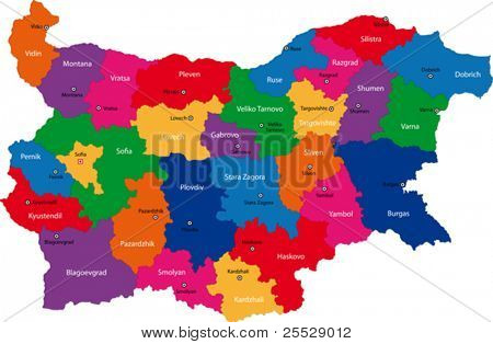 Map of administrative divisions of Bulgaria