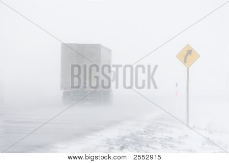 Truck In Blowing Snow