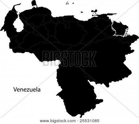 Mapa de Venezuela preto com as fronteiras do estado