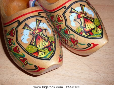 Close-Up Wooden Clogs