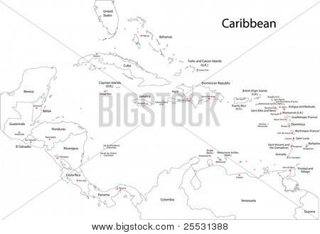 Outline Caribbean map with countries and capital cities