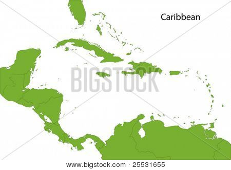Caribbean map with countries