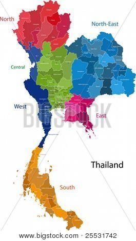 Mapa del Reino de Tailandia con las provincias de color en colores brillantes
