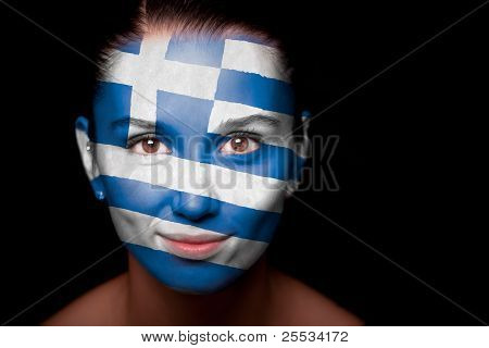Portrait of a woman with the flag of the Greece