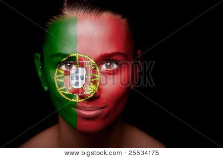 Portrait of a woman with the flag of the Portugal