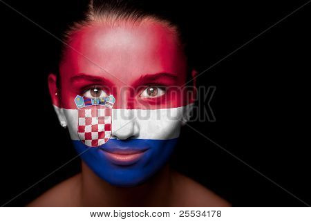 Portrait of a woman with the flag of the Croatia