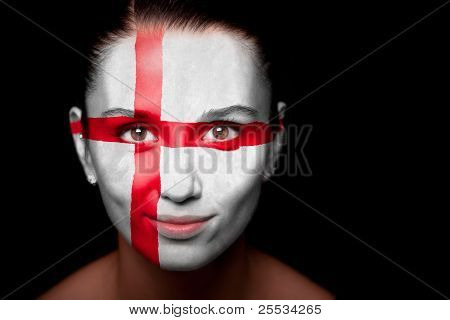 Portrait of a woman with the flag of the England