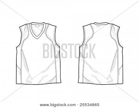 White sleeveless shirt template, front and back