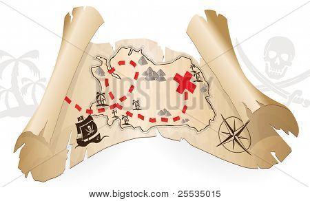Pirate map, way to treasure