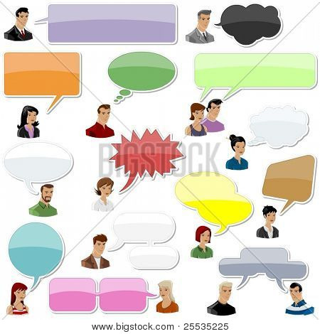 set of people with speech bubbles and dialog balloons