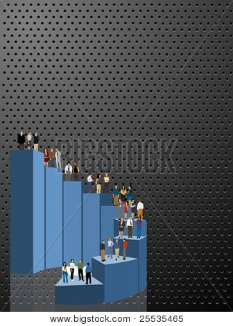 Vector background with a group of business people over chart