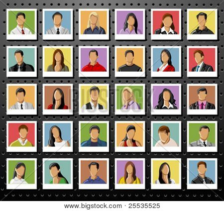 Group of business and office people photos on black background. Vector Icons.