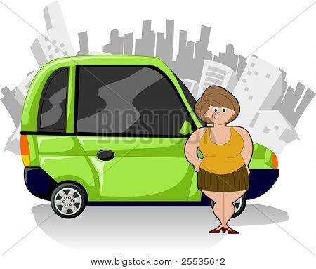 Mujer gordita de dibujos animados con el coche compacto verde y ciudad en el fondo