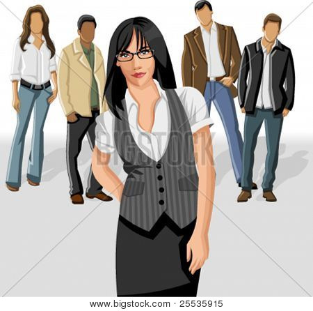 Business woman wearing gray vest with office people on the background