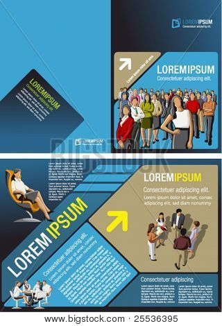 Blue, yellow and brown template for advertising brochure with business people